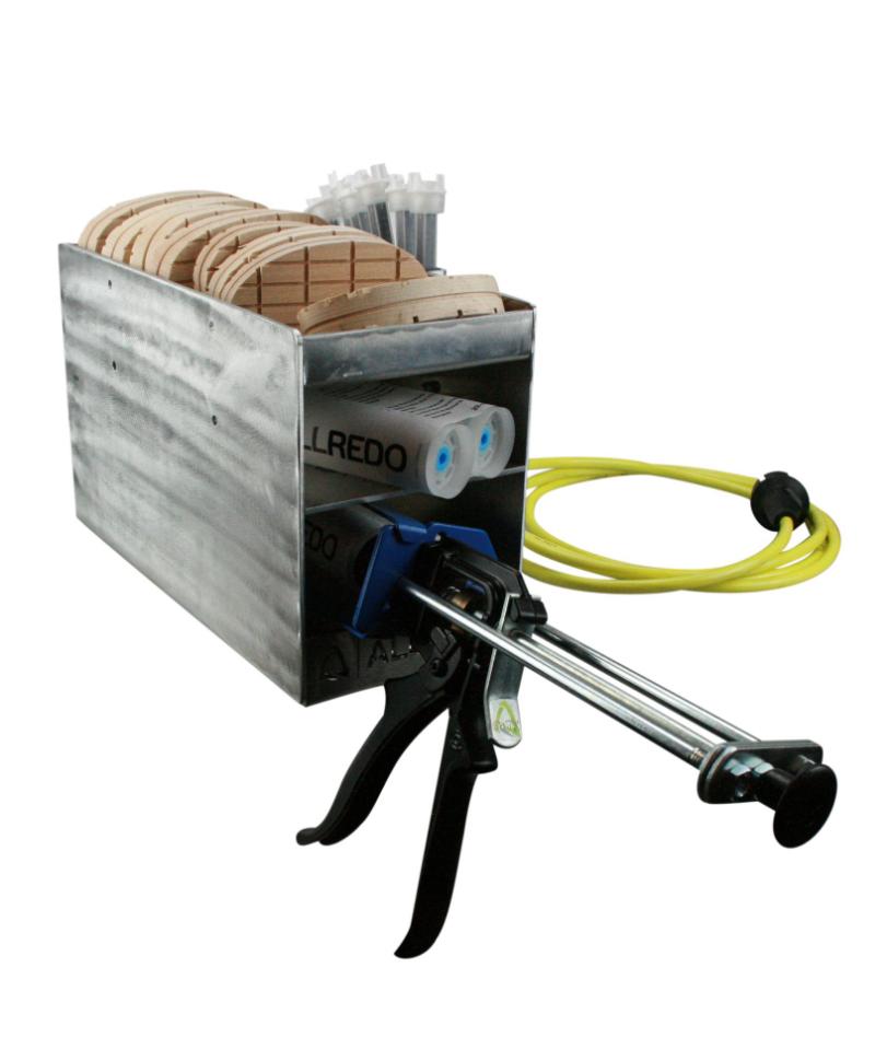 Ansamblu complet cutie metalica cu rezistenta electrica pentru incalzirea adezivilor pentru ongloane, Allredo Heat BOX, plina