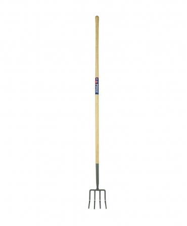 Furca pentru gunoi, 4 coarne indoite din otel, coada de lemn, 1830 mm, Spear and Jackson