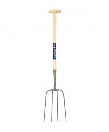 Furca pentru fan cu 4 coarne din otel, coada de lemn 810 mm, maner T lemn, Spear & Jackson