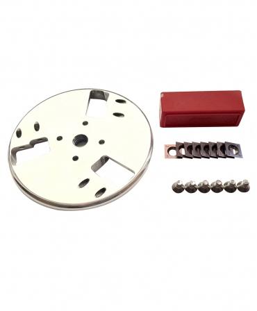 Disc trimaj ongloane 120 mm din aluminiu, inchis, cu 6 lame reversibile din titan, Allredo SA10, rezerve lame