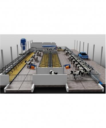 Model de amplasare in ferma 3D Robot de muls vaci BouMatic MR-S2