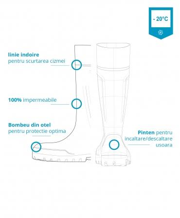 Cizme protectie Bekina Steplite EasyGrip, S4, albastru/albastru, detaliu grafic