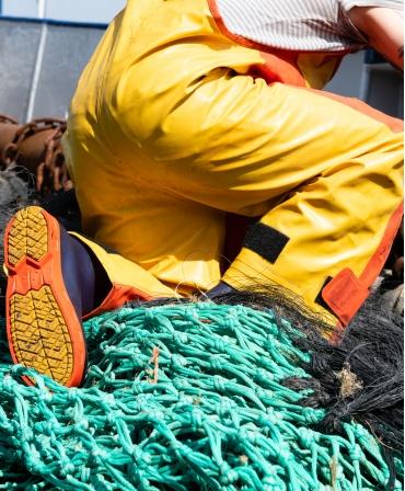 Cizme protectie Bekina StepliteX StormGrip, S5, bleumarin/portocaliu, plasa pescuit