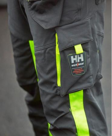 Pantaloni de lucru Helly Hansen ICU Construction, reflectorizanti, HVC1, galben/negru, detalii buzunar