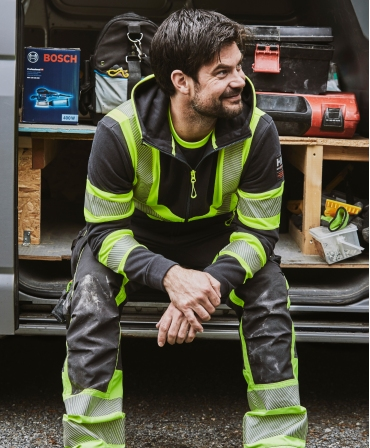 Pantaloni de lucru Helly Hansen ICU Construction, reflectorizanti, HVC1, galben/negru, vedere din fata