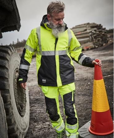 Pantaloni de lucru Helly Hansen ICU Construction, reflectorizanti, HVC2, galben/negru, la lucru