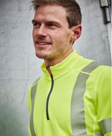 Bluza Helly Hansen Lifa Active Half Zip, reflectorizanta, HVC2, 3, galbena, muncitor imbracat