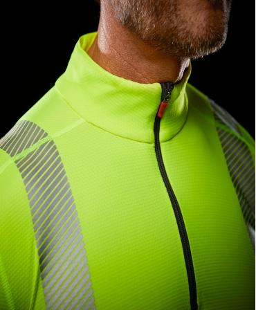 Bluza Helly Hansen Lifa Active Half Zip, reflectorizanta, HVC2, 3, galbena, detalii fermoar