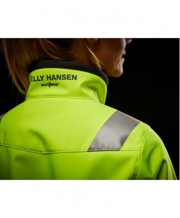 Jacheta dama Helly Hansen Luna Softshell, reflectorizanta, HVC2, galben/negru, detalii guler spate