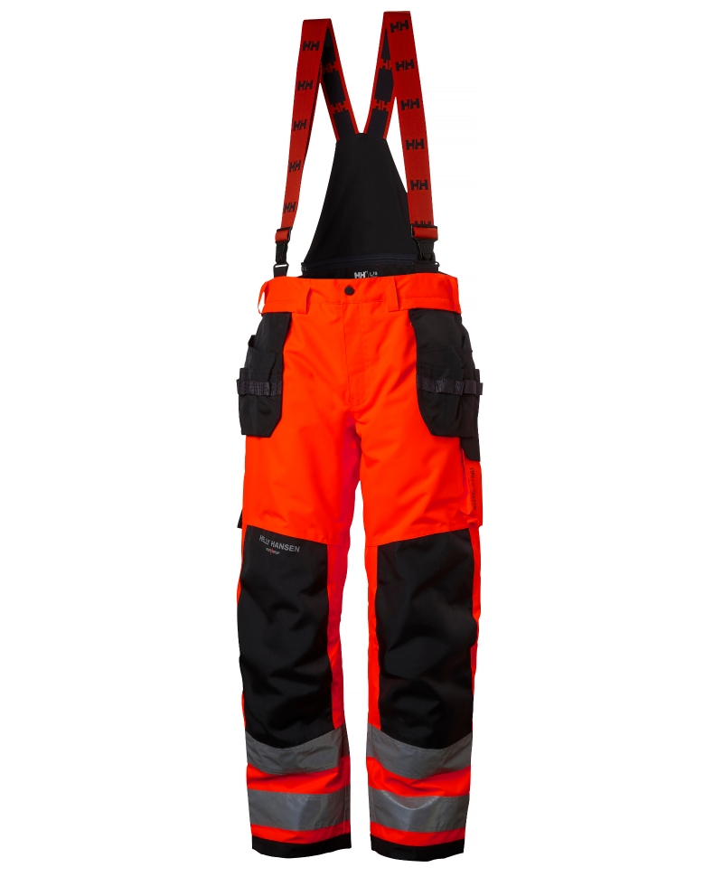 Pantaloni de lucru de iarna Helly Hansen Alna Winter Construction, reflectorizanti, HVC2, rosu/negru, fata