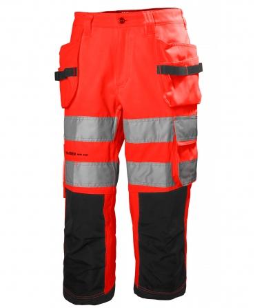 Pantaloni de lucru trei sferturi Helly Hansen Alna Pirate, reflectorizanti, HVC1, 2, rosu/gri inchis, fata