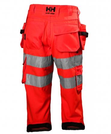 Pantaloni de lucru trei sferturi Helly Hansen Alna Pirate, reflectorizanti, HVC1, 2, rosu/gri inchis, spate
