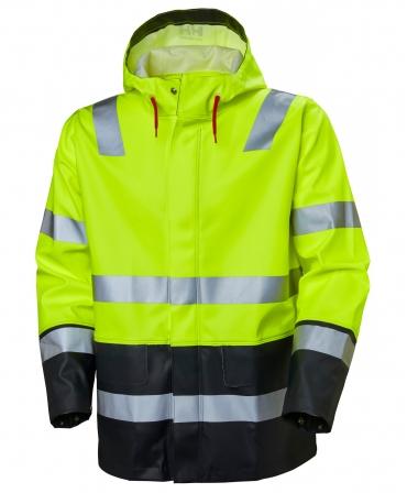 Jacheta impermeabila cu gluga Helly Hansen Alna Rain, reflectorizanta, HVC3, galben/negru, fata