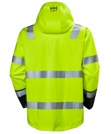 Jacheta impermeabila cu gluga Helly Hansen Alna Rain, reflectorizanta, HVC3, galben/negru, spate