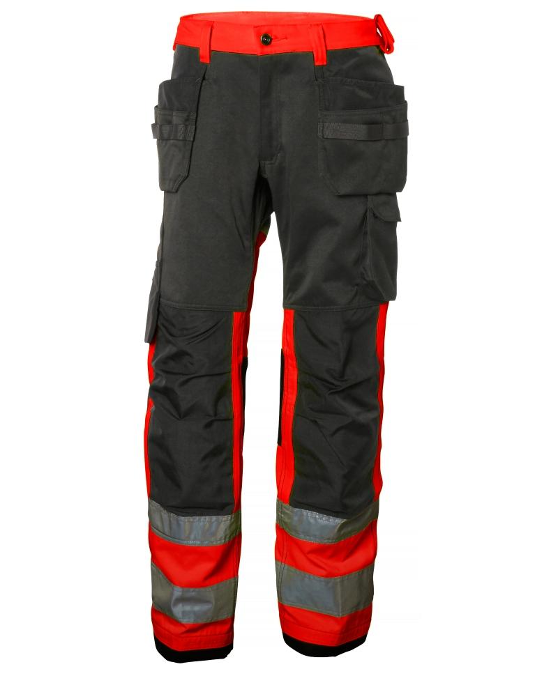 Pantaloni de lucru Helly Hansen Alna Construction, reflectorizanti, HVC1, rosu/gri inchis, fata
