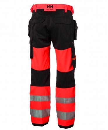 Pantaloni de lucru Helly Hansen Alna Construction, reflectorizanti, HVC1, rosu/gri inchis, spate