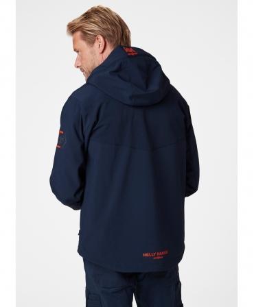 Jacheta cu gluga Helly Hansen Chelsea Evolution Softshell, impermeabila, bleumarin, imbracata, spate