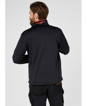 Bluza elastica Helly Hansen Chelsea Evolution Midlayer, neagra, imbracata, spate