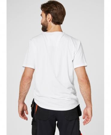 Tricou cu maneca scurta Helly Hansen Chelsea Evolution, alb, imbracat, spate