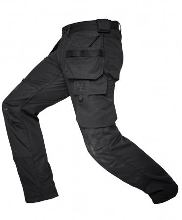 Pantaloni de lucru Helly Hansen Oxford Construction, negri, din lateral cu genunchii indoiti
