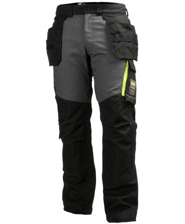 Pantaloni de lucru Helly Hansen Aker Construction, negru/gri inchis, fata
