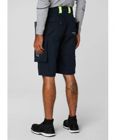 Pantaloni de lucru scurti Helly Hansen Aker, bleumarin/gri, imbracati, spate