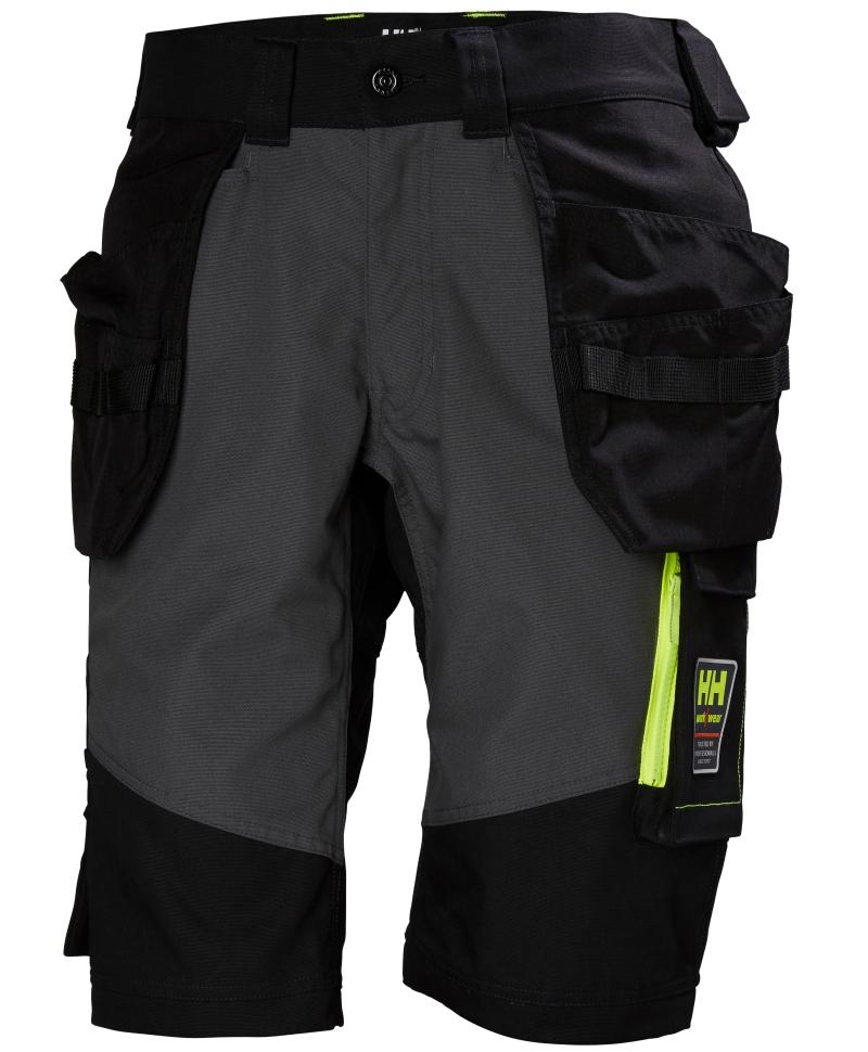 Pantaloni de lucru scurti Helly Hansen Aker Construction, negru/gri inchis, fata