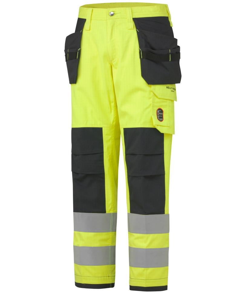 Pantaloni de lucru Helly Hansen Aberdeen Construction, antifoc, reflectorizanti, HVC2, galbeni, fata