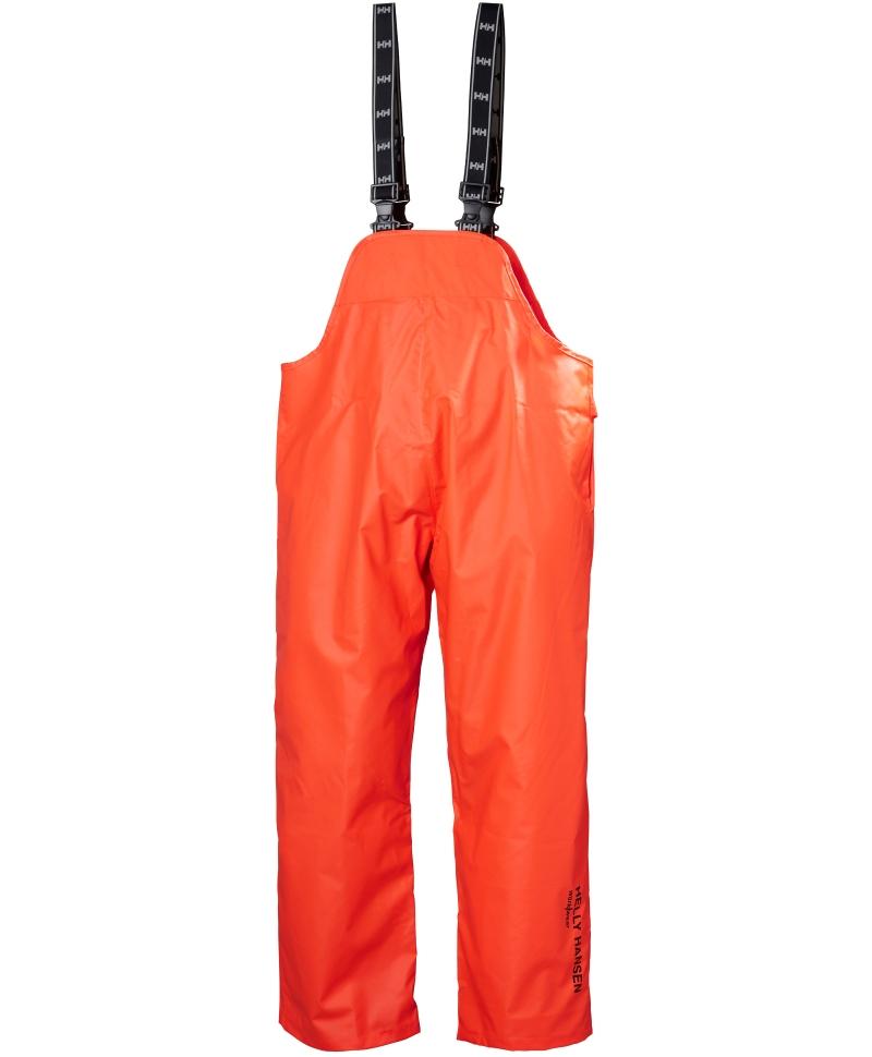 Pantaloni de lucru PVC cu bretele Helly Hansen Mandal, impermeabili, portocalii, fata