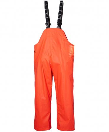 Pantaloni de lucru PVC cu bretele Helly Hansen Mandal, impermeabili, portocalii, spate