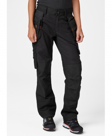Pantaloni de lucru dama Helly Hansen Luna Construction, negri, imbracati, fata