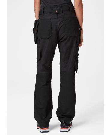 Pantaloni de lucru dama Helly Hansen Luna Construction, negri, imbracati, spate