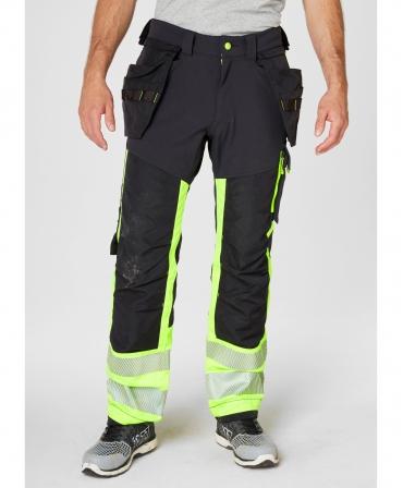Pantaloni de lucru Helly Hansen ICU Construction, reflectorizanti, HVC1, galben/negru, imbracati, fata