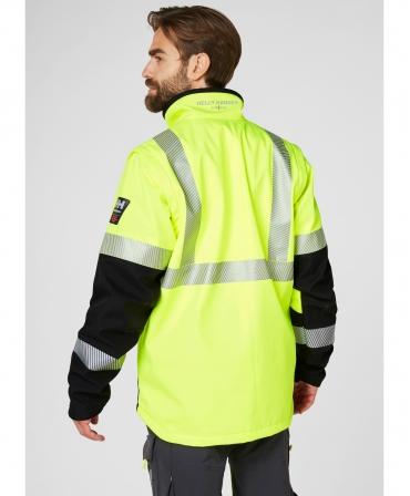 Jacheta Helly Hansen ICU Softshell, impermeabila, reflectorizanta, HVC1, galben/negru, imbracata, spate