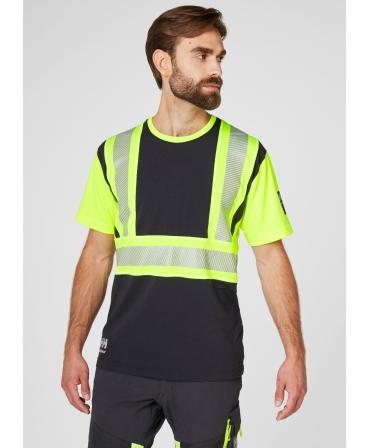 Tricou cu maneca scurta Helly Hansen ICU, reflectorizant, HVC1, galben/negru, imbracat, fata