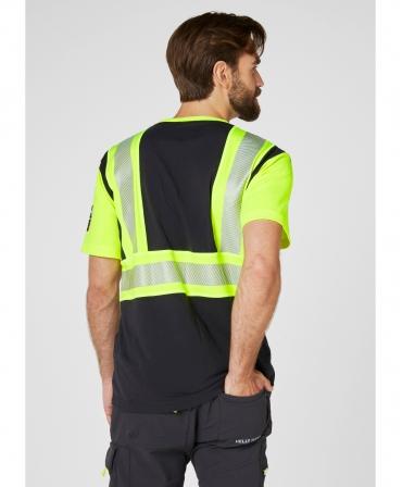 Tricou cu maneca scurta Helly Hansen ICU, reflectorizant, HVC1, galben/negru, imbracat, spate