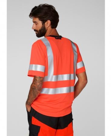 Tricou cu maneca scurta Helly Hansen Addvis, reflectorizant, HVC2, portocaliu, imbracat, spate