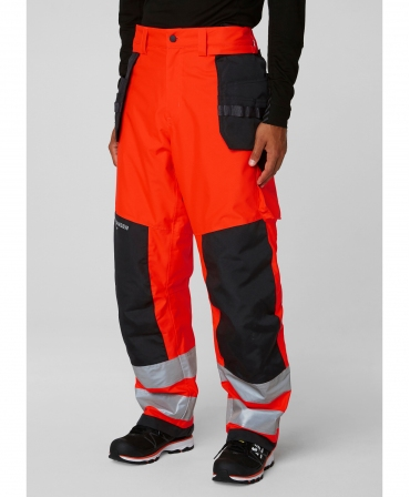 Pantaloni de lucru de iarna Helly Hansen Alna Winter Construction, reflectorizanti, HVC2, rosu/negru, imbracati, fata