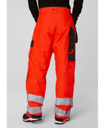 Pantaloni de lucru de iarna Helly Hansen Alna Winter Construction, reflectorizanti, HVC2, rosu/negru, imbracati, spate