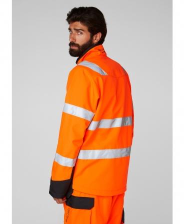 Jacheta Helly Hansen Alna Softshell, reflectorizanta, HVC2, 3, portocaliu/negru, imbracata, spate
