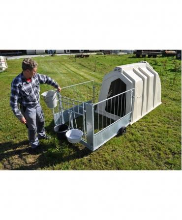 Cuseta individuala vitei Calf-Tel ECO cu gard metalic, mod de deschidere poarta