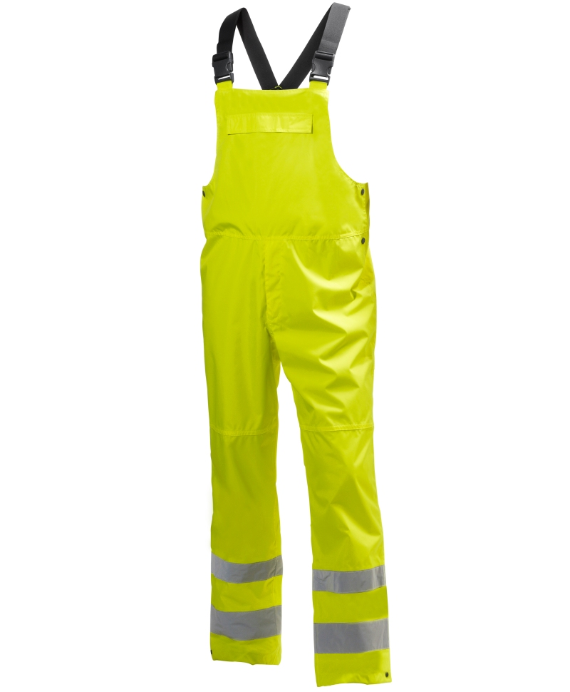 Pantaloni cu pieptar Helly Hansen Alta Shelter, reflectorizanti, HVC2, galbeni, fata
