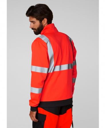 Bluza Helly Hansen Addvis Zip, reflectorizanta, HVC2, 3, rosie, imbracata, spate