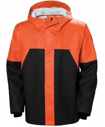 Jacheta cu gluga Helly Hansen Storm Rain, impermeabila, portocaliu/negru, fata