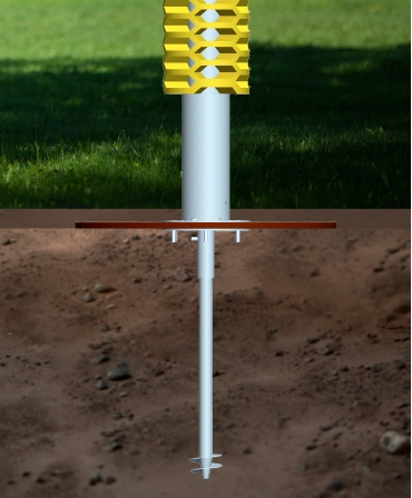 Kit instalare pe pasune, perie scarpinat animale fixa EasySwing Totem, concept 3D