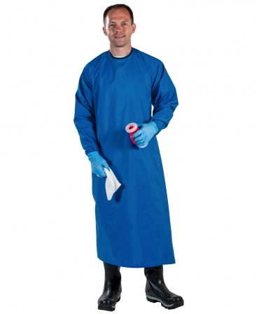 Sort protectie mulgator cu maneci Udder Tech, nailon - impermeabil, albastru, fata