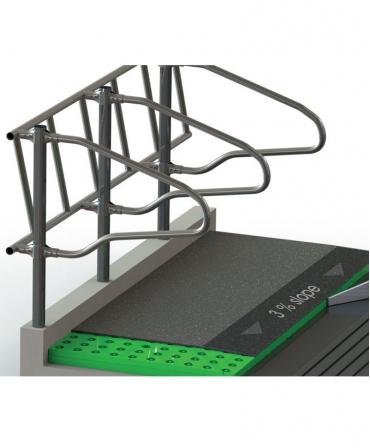 Platforma compozit cu membrana din cauciuc, FEEDING STEP, pentru stationarea animalelor la aleea de furajare