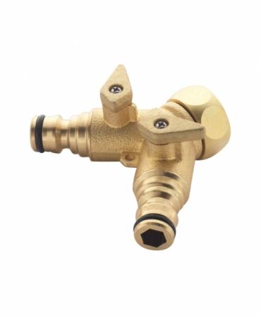 Conector rapid 2 cai cu robineti 3/4″ din alama, Spear & Jackson, produs