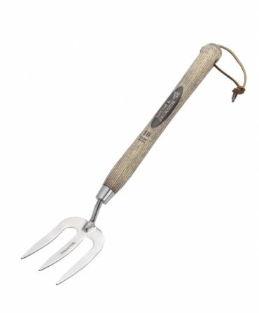 Mini furca gradinarit cu 3 coarne inox, coada lemn lung, Spear & Jackson Traditional Stainless, produs