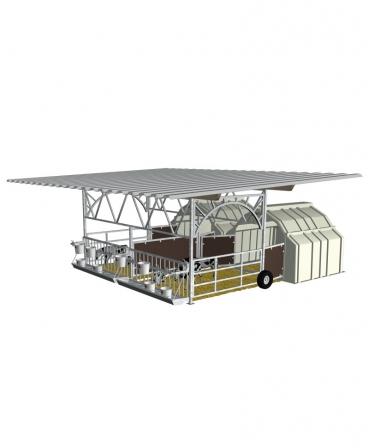 Veranda pentru boxa comuna vitei Calf-Tel MultiMAX, structura de baza fara acoperis, varianta DUO mobila
